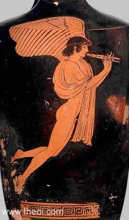 Eros playing flute | Athenian red-figure lekythos C5th B.C. | Museum of Fine Arts, Boston