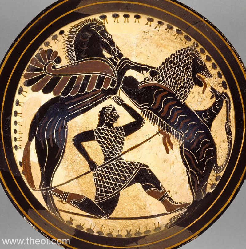 Bellerophon & Pegasus fighting the Chimera | Greek vase, Laconian black figure kylix