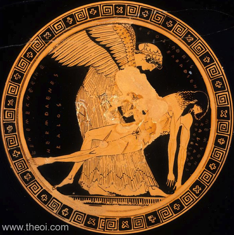 Eos and the body of Memnon | Athenian red-figure kylix C5th B.C. | Musée du Louvre, Paris