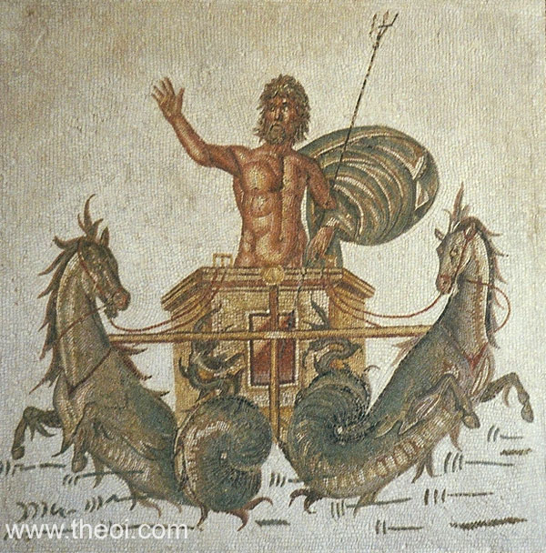 Chariot of Poseidon | Greco-Roman mosaic | Bardo National Museum, Tunis