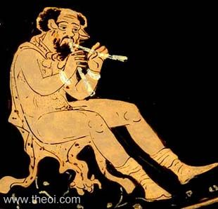 Satyr Marsyas playing the flute | Paestan red figure lekanis C4th B.C. | Musée du Louvre, Paris