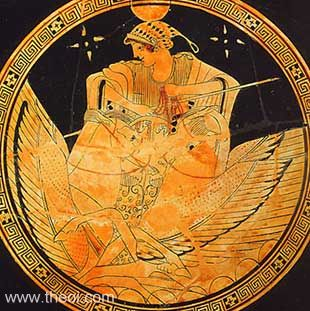 Selene, goddess of the moon | Athenian red figure kylix C5th B.C. |Antikensammlung, Berlin