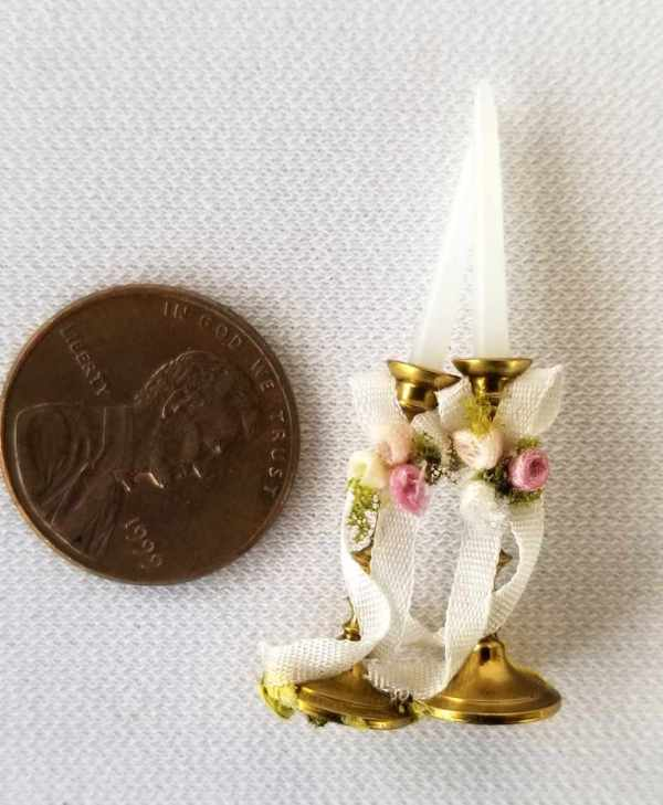 Candles Candlesticks Pair Pretty Goldtone Wedding Fancy Ribbons Dollhouse Miniatures 1:12 Scale