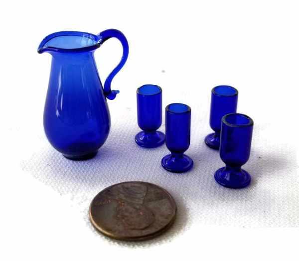 Cobalt Blue Glass Pitcher 4 Tumblers Glasses Set Royal Miniatures Dollhouse Miniature 1:12 Scale