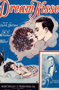 Dream Kisses Vintage Sheet Music 1927 Ukulele Arrangement Art Nolan Barbelle Art Deco Cover