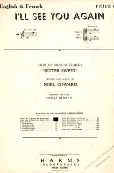 I'll See You Again Sheet Music Vintage 1928 Bitter Sweet Musical Noel Coward Nelson Eddy