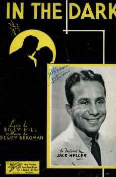 In The Dark Vintage Sheet Music 1935 Jack Hiller by Billy Hill Dewey Bergman Barbelle Cover