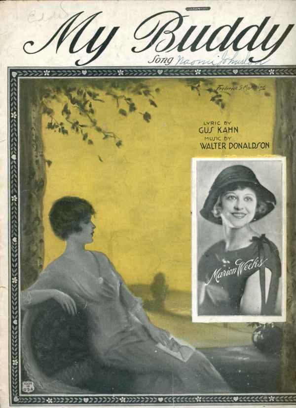 My Buddy Vintage Sheet Music 1922 Marion Weeks Gus Kahn Frederick Manning Cover Art