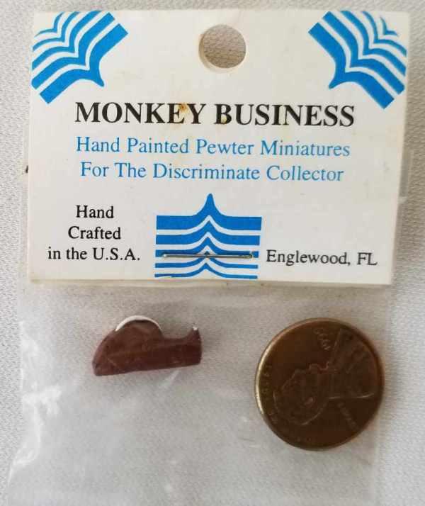 Pewter Desk Tape Dispenser Brown Monkey Business Dollhouse Miniatures 1:12 Scale