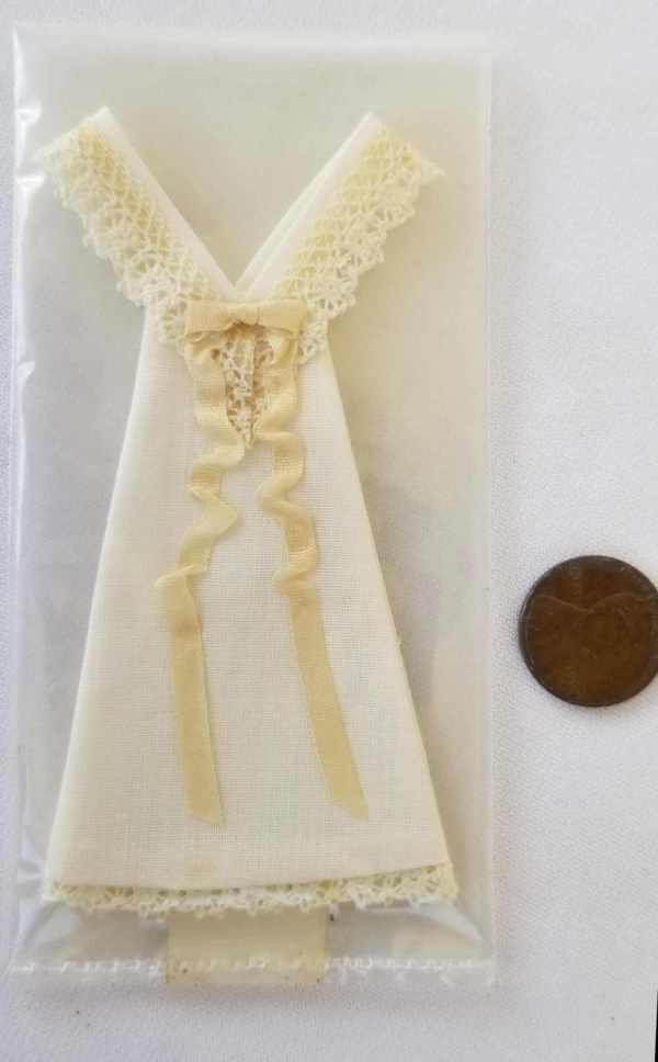 Vintage Doll Clothing Slip Undergarment Nightgown Lacy Dollhouse Miniatures 1:12 Scale