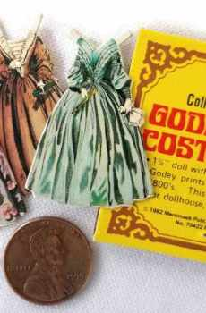 Vintage Godey Paper Doll and Costume Set Dollhouse Miniature 1:12 Scale