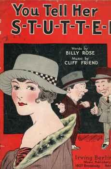 You Tell Her I S-T-U-T-T-E-R Stutter Vintage Sheet Music 1922 Art Deco Rosenbaum Cover Billy Rose