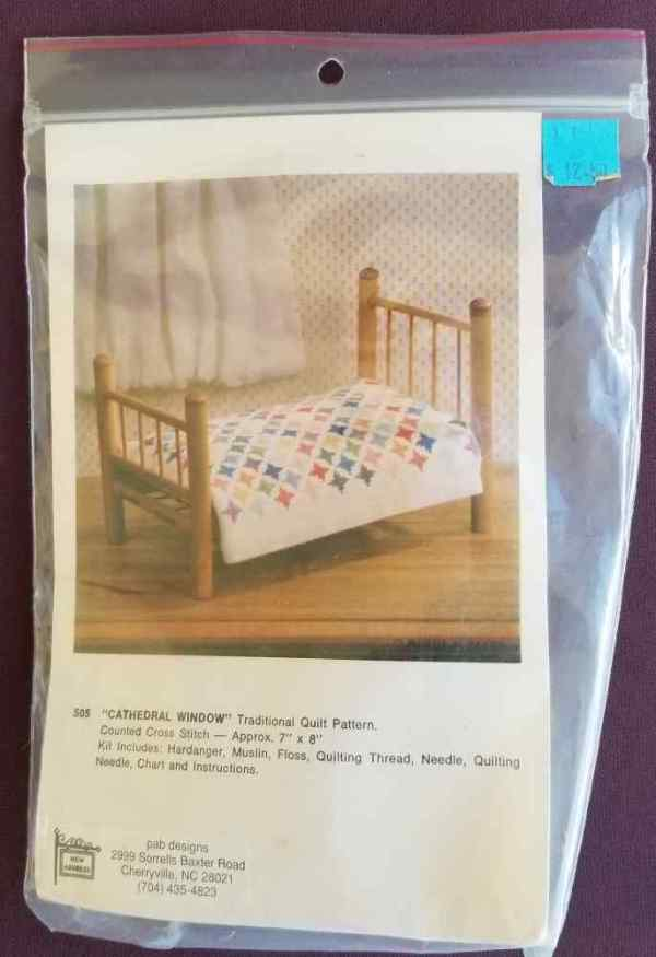 Cathedral Window Traditional Quilt Pattern Counted Cross Stitch Kit PAB Designs Vintage Dollhouse Miniature