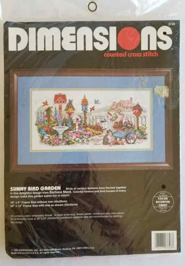 Dimensions Counted Cross Stitch Kit Sunny Bird Garden by Barbara Mock No. 3746 Birdhouses