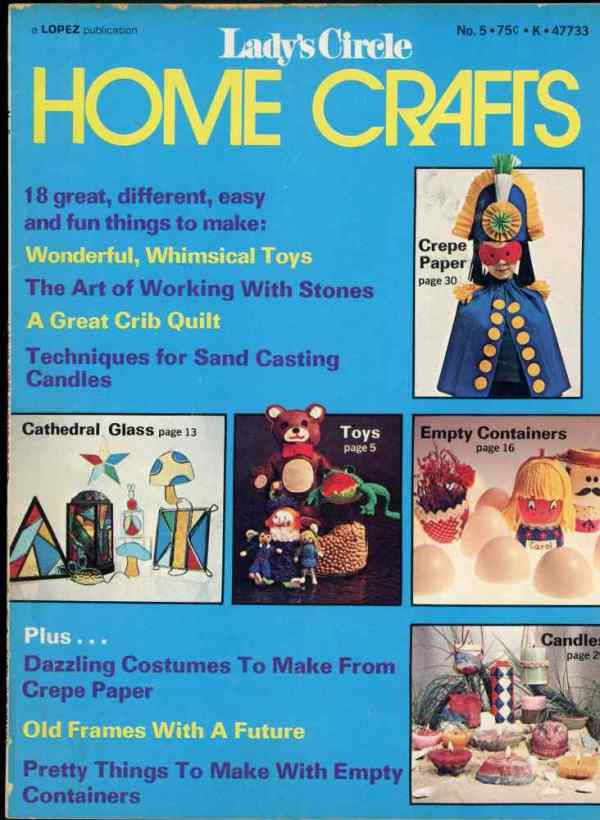 Lady's Circle Home Crafts Number 5 1973 Magazine Retro Mid Century Toys Sand Cast Candles Stones