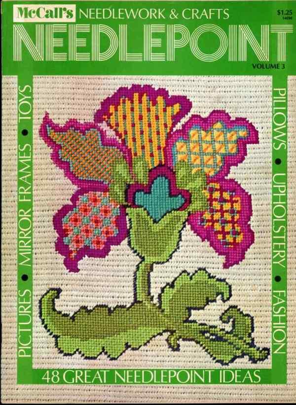 McCall's Needlework & Crafts Needlepoint 48 Design Ideas 1974 Mid Century Crafts Fashion Decor