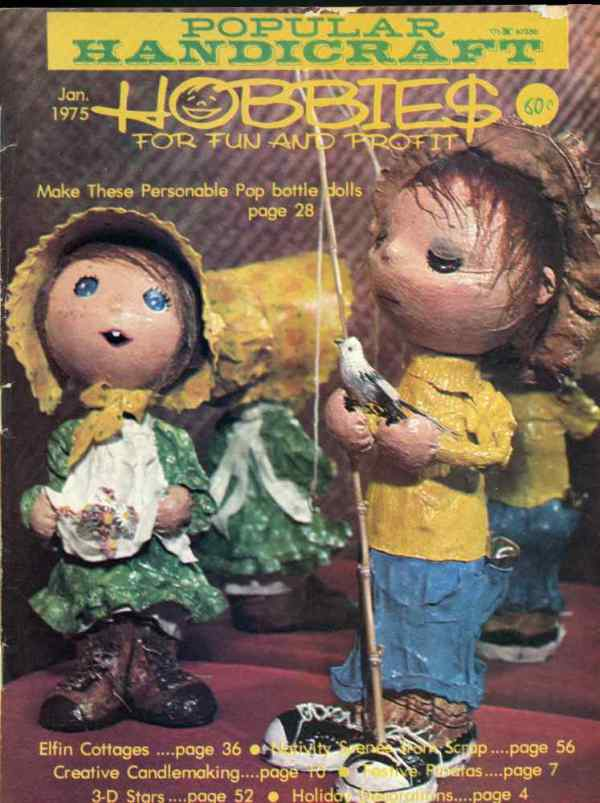 Popular Handicraft Hobbies For Fun and Profit January 1975 Magazine Retro Mid Century Projects Elfin Cottages