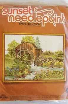 "Sunset Needlepoint Kit Spring Mill Pond Number 6807 Vintage 1981 14x18"" Wool Yarn New Sealed"