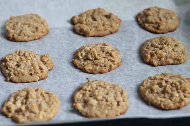 Oatmeal Peanut Butter Cookies on baking sheet