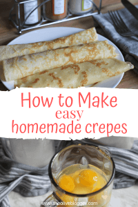 Crepes on a plate and crepe batter in blender