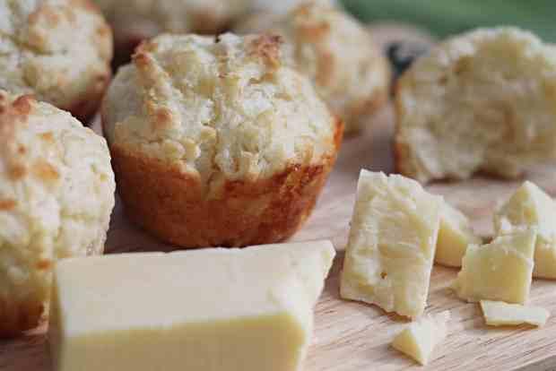 Soda Bread Muffins on cutting board with Irish Cheddar chunks