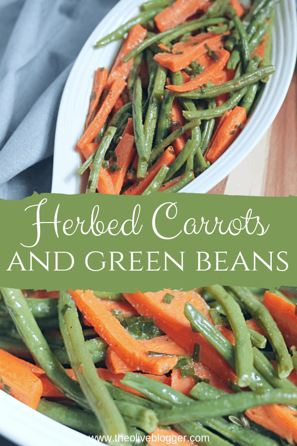 white serving dish with green beans and carrots