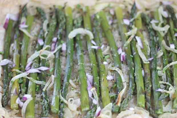 Asparagus Tart on puff pastry- cooked