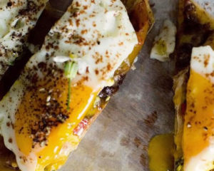 Olive oil poached egg