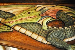 Detail of the carved green dragon in the Green Dragon