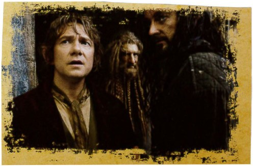 Bilbo, Nori and Thorin.