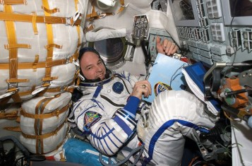 Jeffrey Williams inside the_Soyuz TMA-8 spacecraft