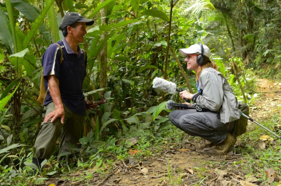 Karen Coates interviews Walter Paran, a Kelabit villager, as he forages for wild gingers and edible leaves in the highlands of Malaysian Borneo, as part of a story on the biologically diverse edible jungle.