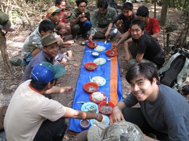 A camp dinner in Borneo.