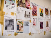 Fliers on the wall of a public hospital commemorate young nurses and lab technicians who have died of Ebola.