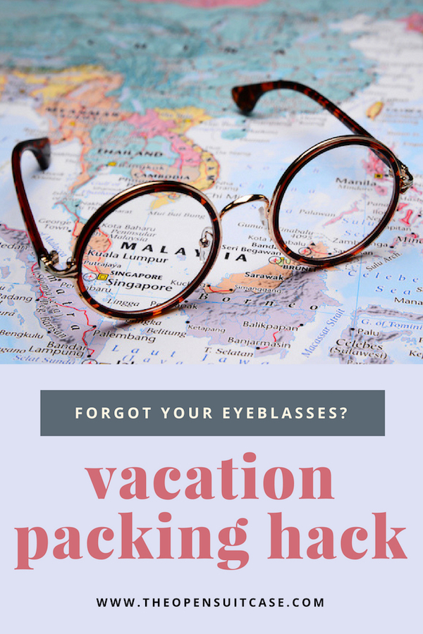 pinnable image of eyeglasses on a map for vacation packing tip