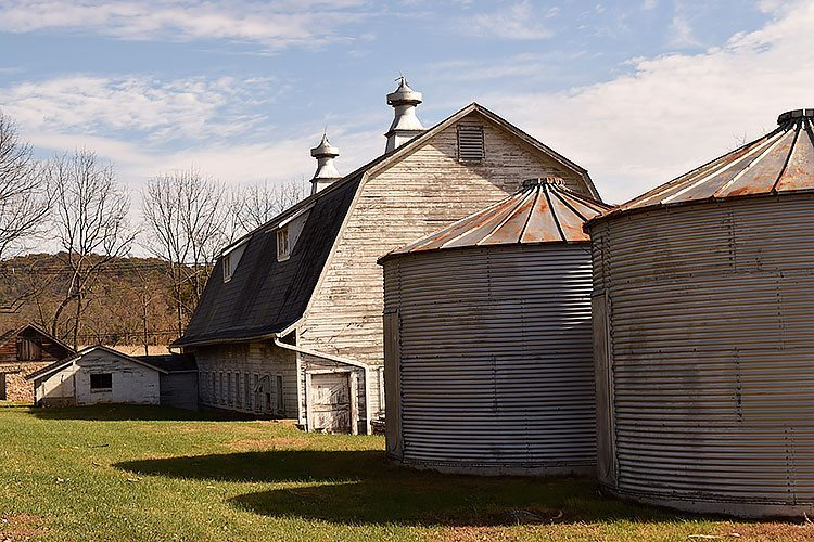 Shadows from a dairy barn make for an interesting photo and something beginning photographers should look for.