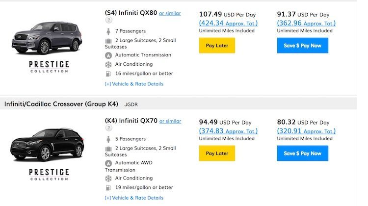 Screenshot of Hertz deals used in AutoSlash review to check prices