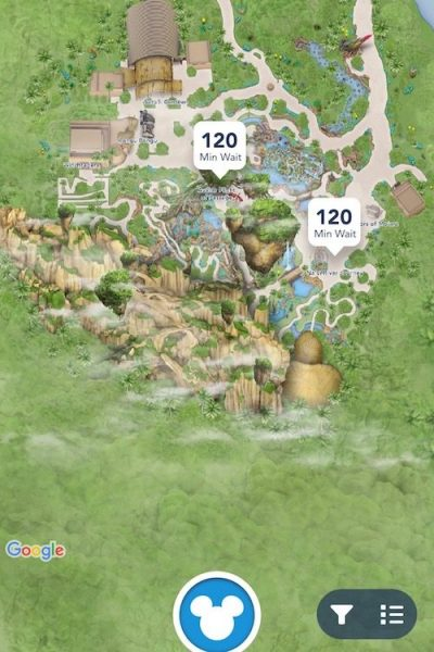 My Disney Experience screenshot with waiting times at Animal Kingdom, a handy tool when visiting Pandora.