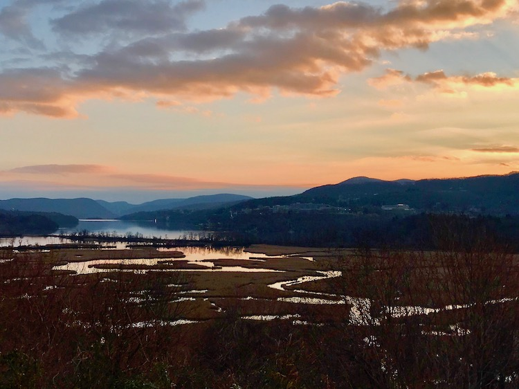 Constitution Marsh and the Hudson Highlands at dusk, a view to be enjoyed during Boscobel twilight tours