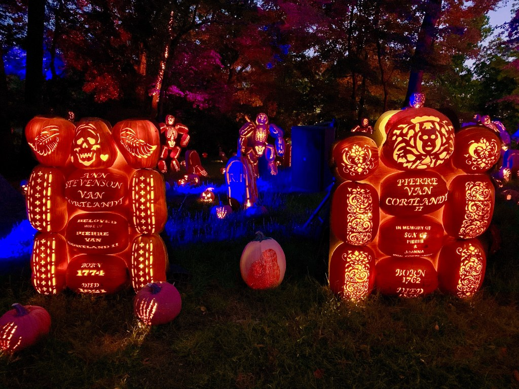 Headstones made out of pumpkins at the Great Jack O'Lantern Blaze, the Hudson Valley's most popular Halloween event.