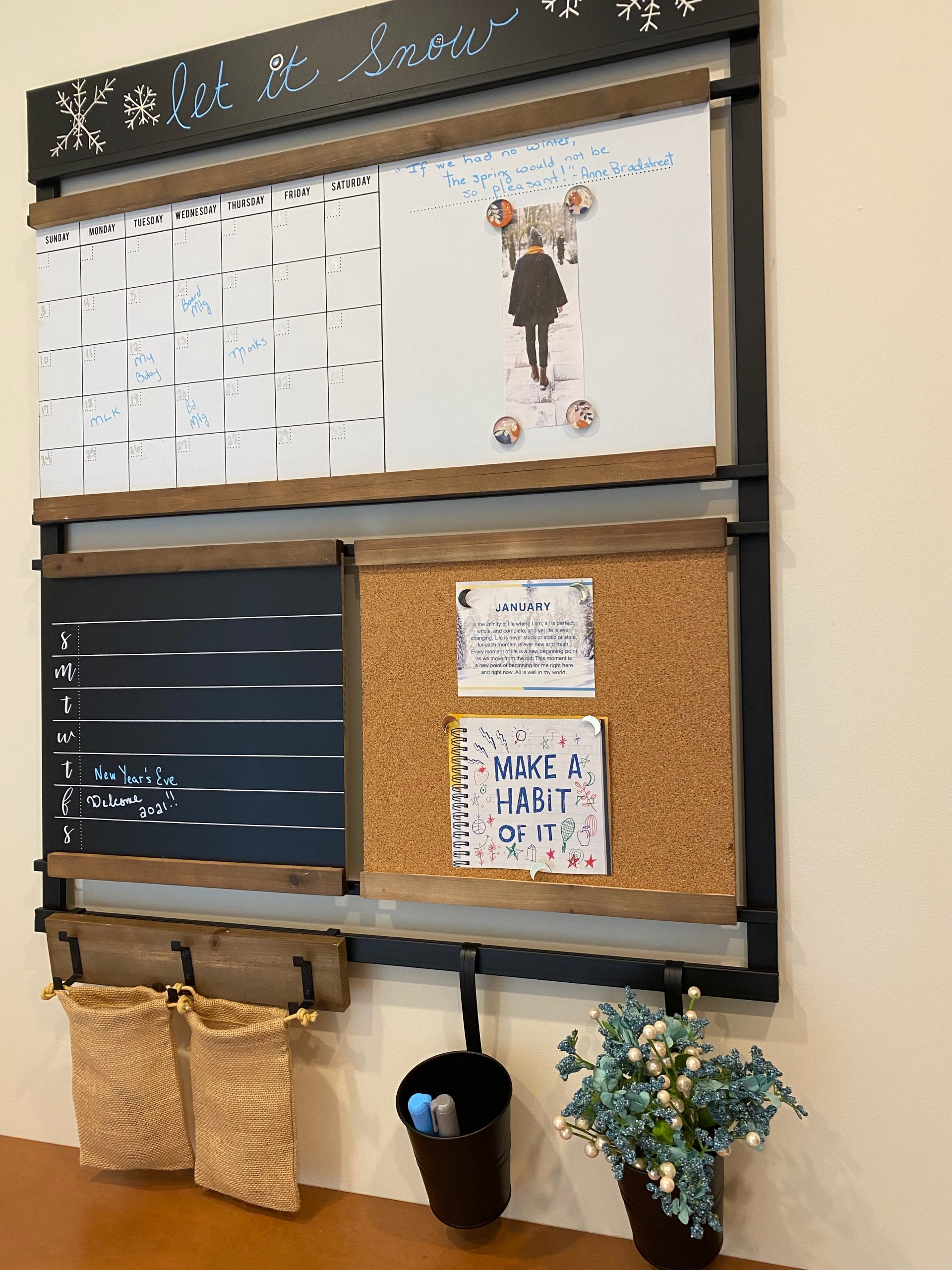 1Thrive command center decorated for winter features The Brooke wall organizer