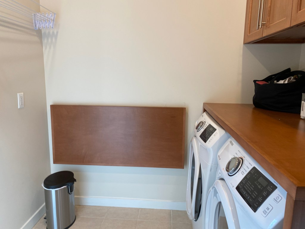 Blank wall in a home laundry room