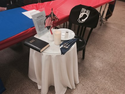 The Table for One, placed in tribute to POW/MIA servicemen and their families