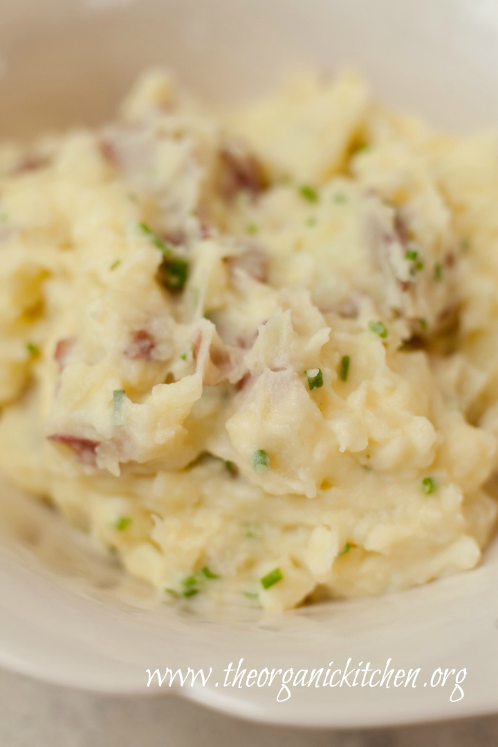 Creamy Decadent Smashed Potatoes with chives
