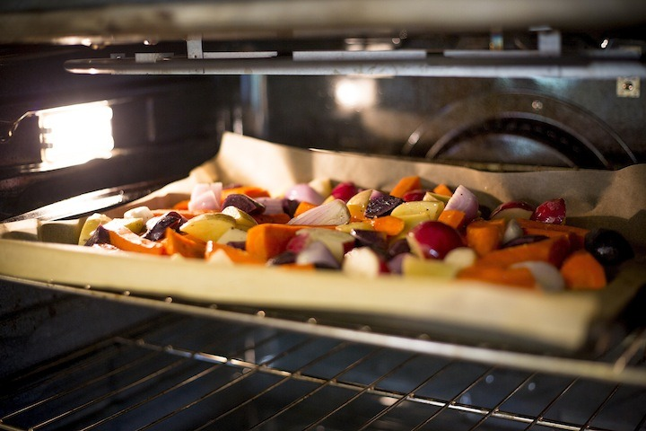 Simple Roasted Vegetables on a sheet pan, in the oven