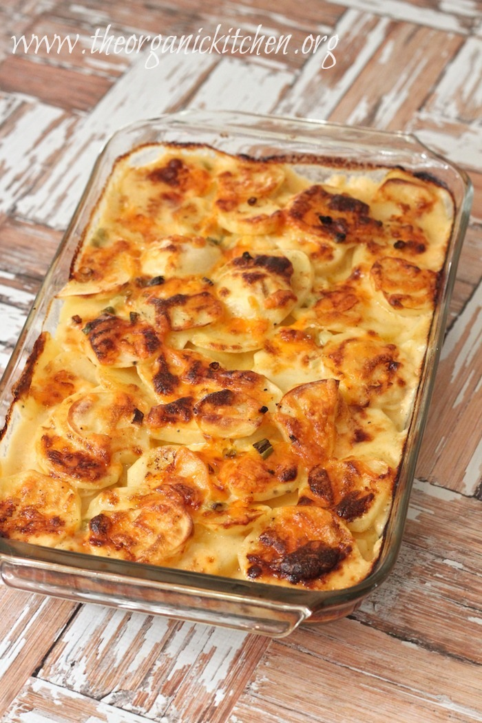 This 3 cheese Au Gratin Potatoes dish is easy to make and is one of my favorite side dishes. This cheesy potato casserole has layers of thin potatoes topped with a homemade cheese sauce and is baked until browned and bubbly! Pretty enough for guests, easy enough for any day of the week!