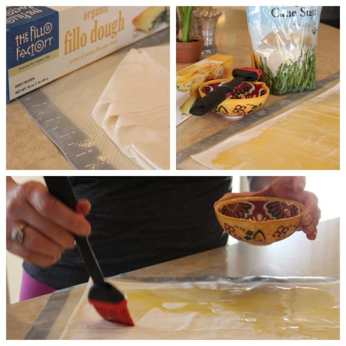 Three photos demonstrating how to use and butter fillo dough to use in making Berries in a Pastry Basket!