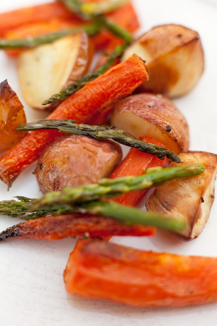 Simple Roasted Vegetables on white background
