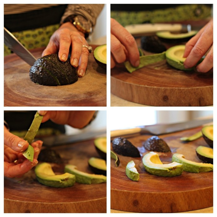 How to slice an avocado: a woman's hand with knife demonstrating how to slice and peel and avocado