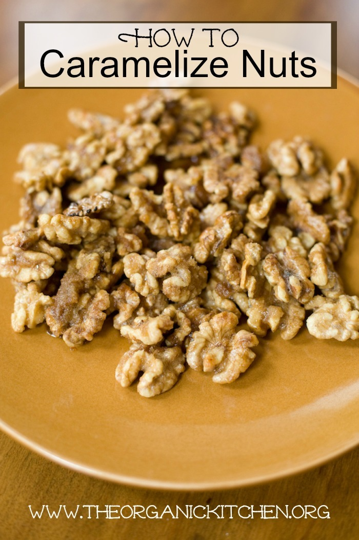 A gold plate filled with caramelized walnuts: How to Caramelize Nuts in The Oven or on The Cooktop!